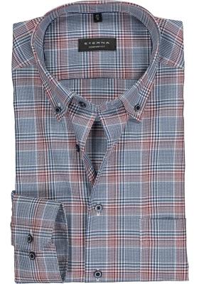 ETERNA Comfort Fit overhemd mouwlengte 7, rood - wit- blauw geruit