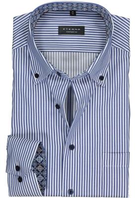 ETERNA Comfort Fit overhemd mouwlengte 7, blauw - wit gestreept twill (contrast)