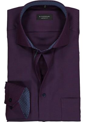 ETERNA Comfort Fit overhemd, paars/blauw structuur (contrast)
