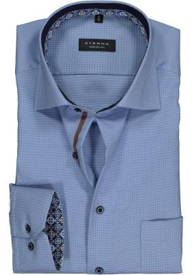 ETERNA Comfort Fit overhemd, lichtblauw met wit structuur (contrast)