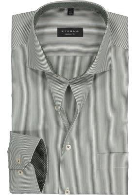 ETERNA Comfort Fit overhemd, olijfgroen met wit gestreept (contrast)