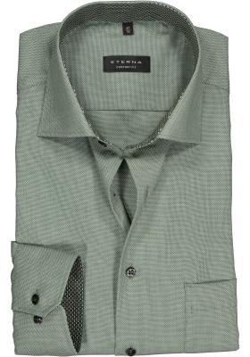 ETERNA Comfort Fit overhemd, olijfgroen structuur (contrast)