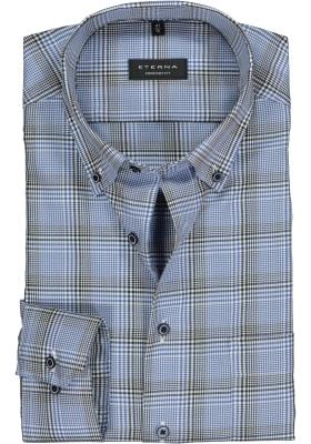 ETERNA Comfort Fit overhemd, blauw - wit geruit