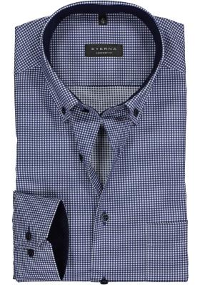 ETERNA Comfort Fit overhemd, blauw geruit twill (contrast)