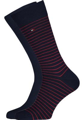 Tommy Hilfiger Small Stripe Socks (2-pack), herensokken katoen, uni en gestreept, blauw en rood