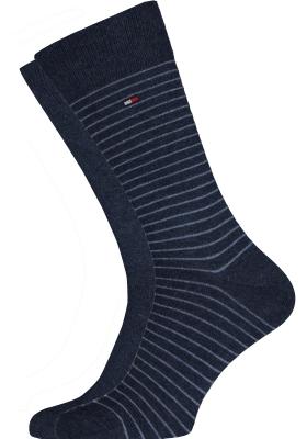 Tommy Hilfiger Small Stripe Socks (2-pack), herensokken katoen, uni en gestreept, jeans blauw
