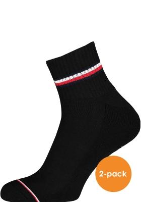 Tommy Hilfiger Iconic Quarter Socks (2-pack), heren sneaker sportsokken katoen, zwart
