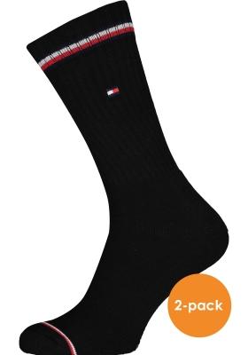 Tommy Hilfiger Iconic Sport Socks (2-pack), heren sportsokken katoen, zwart