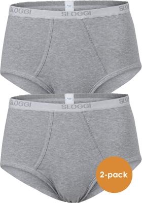 Sloggi Men Basic Maxi, heren slips met gulp (2-pack), grijs