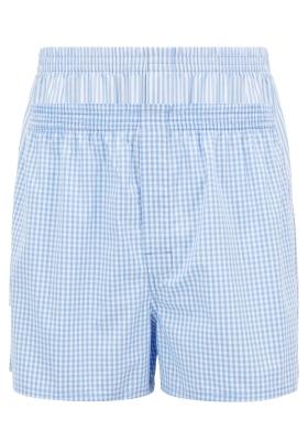 HUGO BOSS boxershorts woven (2-pack), heren boxers wijd model, lichtblauw geruit en gestreept