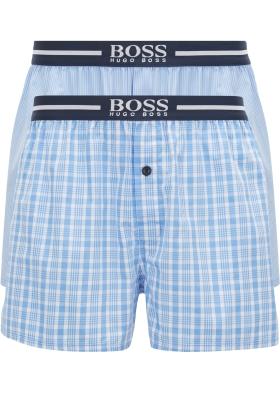 HUGO BOSS boxershorts woven (2-pack), heren boxers wijd model, lichtblauw met wit geruit en gestreept