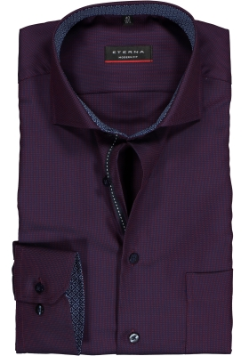 ETERNA Modern Fit overhemd mouwlengte 7, paars/blauw structuur (contrast)