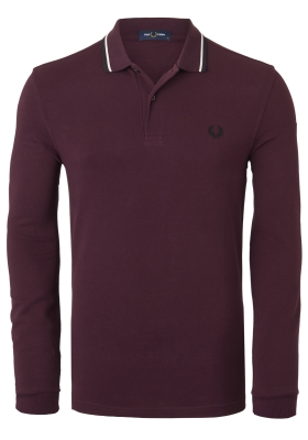 Fred Perry polo lange mouwen, donkerrood
