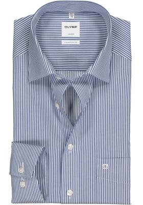 OLYMP Luxor comfort fit overhemd, marine blauw gestreept