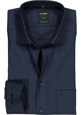 OLYMP Luxor modern fit overhemd, nachtblauw twill
