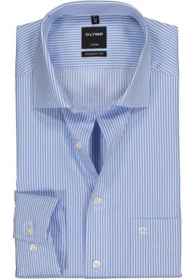 OLYMP Luxor modern fit overhemd, lichtblauw met wit gestreept
