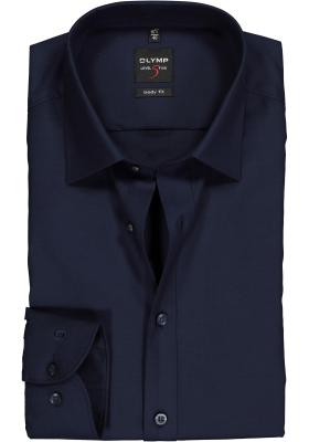 OLYMP Level 5 body fit overhemd, nachtblauw twill