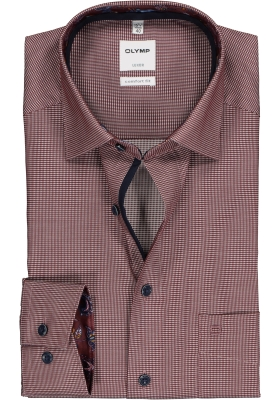 OLYMP Luxor comfort fit overhemd, mouwlengte 7, donkerrood structuur (contrast)