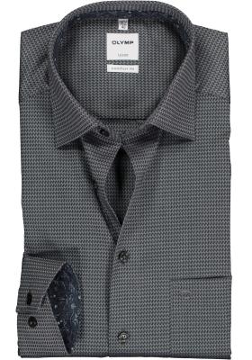 OLYMP Luxor Comfort Fit overhemd, antraciet grijs structuur (contrast)