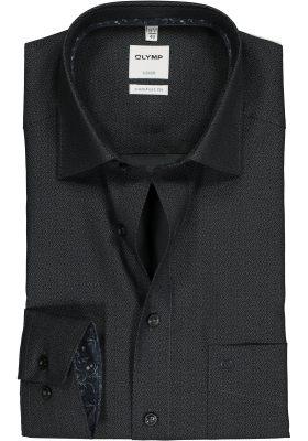 OLYMP Luxor Comfort Fit overhemd, zwart dessin (contrast)