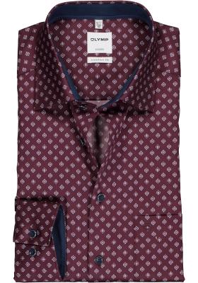 OLYMP Luxor Comfort Fit overhemd, bordeaux rood dessin (contrast)