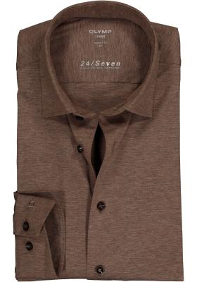 OLYMP Luxor Modern Fit overhemd 24/7, bruin tricot