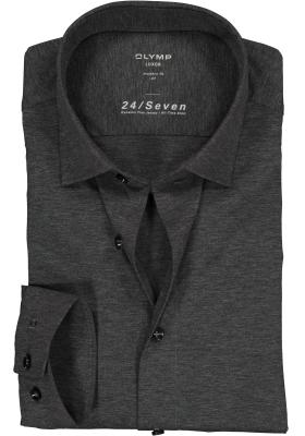 OLYMP Luxor 24/Seven modern fit overhemd, antraciet grijs tricot