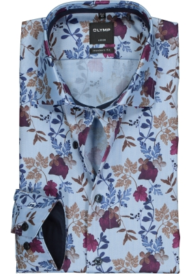 OLYMP Luxor Modern Fit overhemd, blauw bloemen dessin