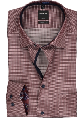 OLYMP Luxor Modern Fit overhemd, donkerrood mini dessin (contrast)