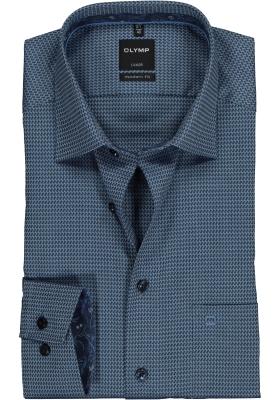OLYMP Luxor Modern Fit overhemd mouwlengte 7, marine blauw structuur (contrast)