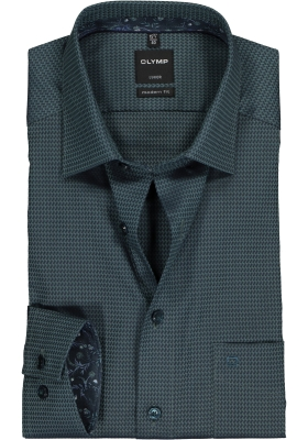 OLYMP Luxor Modern Fit overhemd mouwlengte 7, donkergroen structuur (contrast)