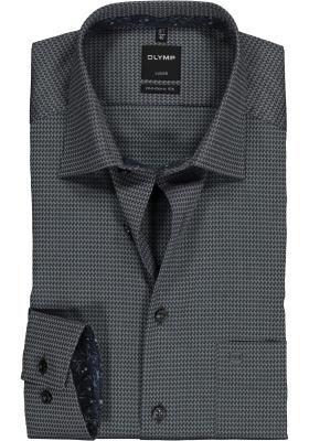 OLYMP Luxor Modern Fit overhemd mouwlengte 7, zwart structuur (contrast)