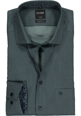 OLYMP Luxor Modern Fit overhemd, donkergroen dessin (contrast)