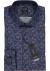 OLYMP Luxor modern fit overhemd, mouwlengte 7, blauw met donkerrood dessin (contrast)
