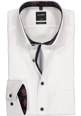 OLYMP Luxor Modern Fit overhemd, wit  (contrast)