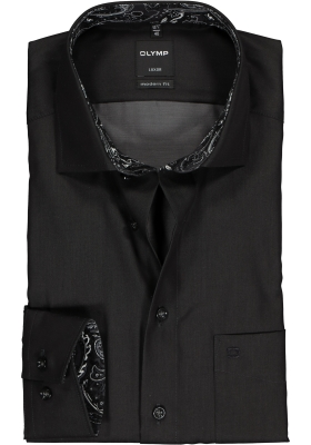 OLYMP Luxor Modern Fit overhemd, zwart  (contrast)