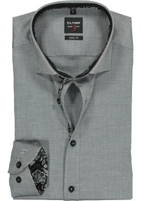 OLYMP Level 5 Body Fit overhemd, zwart structuur (contrast)