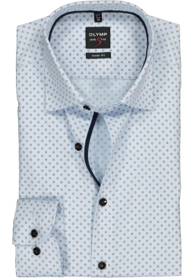 OLYMP Level 5 Body Fit overhemd, bruin met wit mini dessin (contrast)