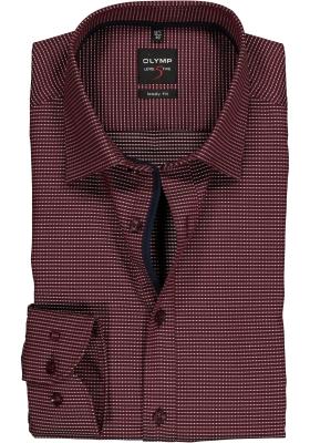 OLYMP Level 5 Body Fit overhemd, donkerrood mini dessin (contrast)