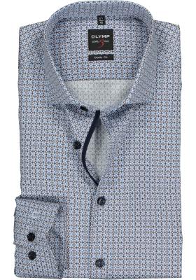 OLYMP Level 5 Body Fit overhemd, bruin met lichtblauw dessin (contrast)