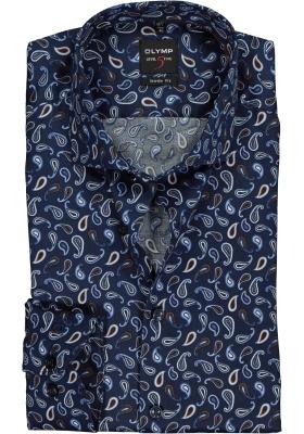 OLYMP Level 5 Body Fit overhemd, blauw met bruin paisley dessin