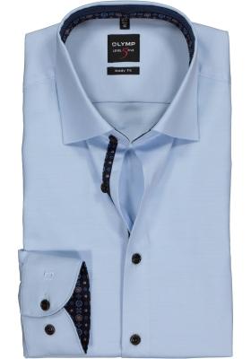 OLYMP Level 5 Body Fit overhemd, lichtblauw twill (contrast)