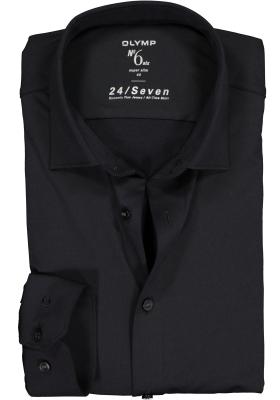 OLYMP No. 6 Super Slim Fit overhemd 24/7, zwart tricot