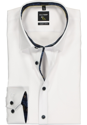 OLYMP No. 6 Six Super Slim Fit overhemd, wit structuur (contrast)