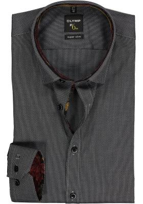 OLYMP No. 6 Six Super Slim Fit overhemd, zwart structuur (contrast)