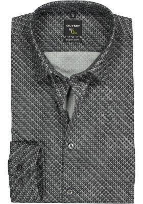 OLYMP No. 6 Six Super Slim Fit overhemd, zwart dessin