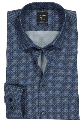 OLYMP No. 6 Six Super Slim Fit overhemd mouwlengte 7, lichtblauw dessin