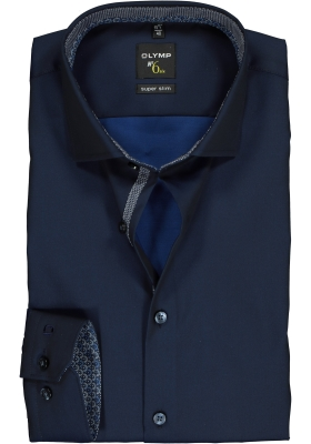 OLYMP No. 6 Six Super Slim Fit overhemd, marine blauw  (contrast)
