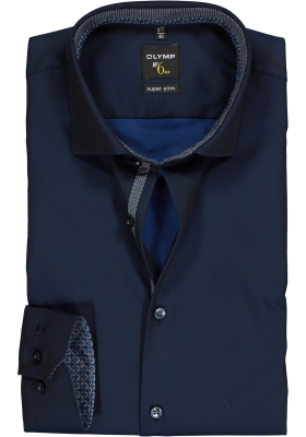 OLYMP No. 6 Six Super Slim Fit overhemd mouwlengte 7, marine blauw  (contrast)