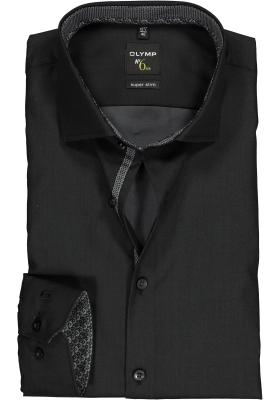 OLYMP No. 6 Six Super Slim Fit overhemd mouwlengte 7, antraciet grijs  (contrast)